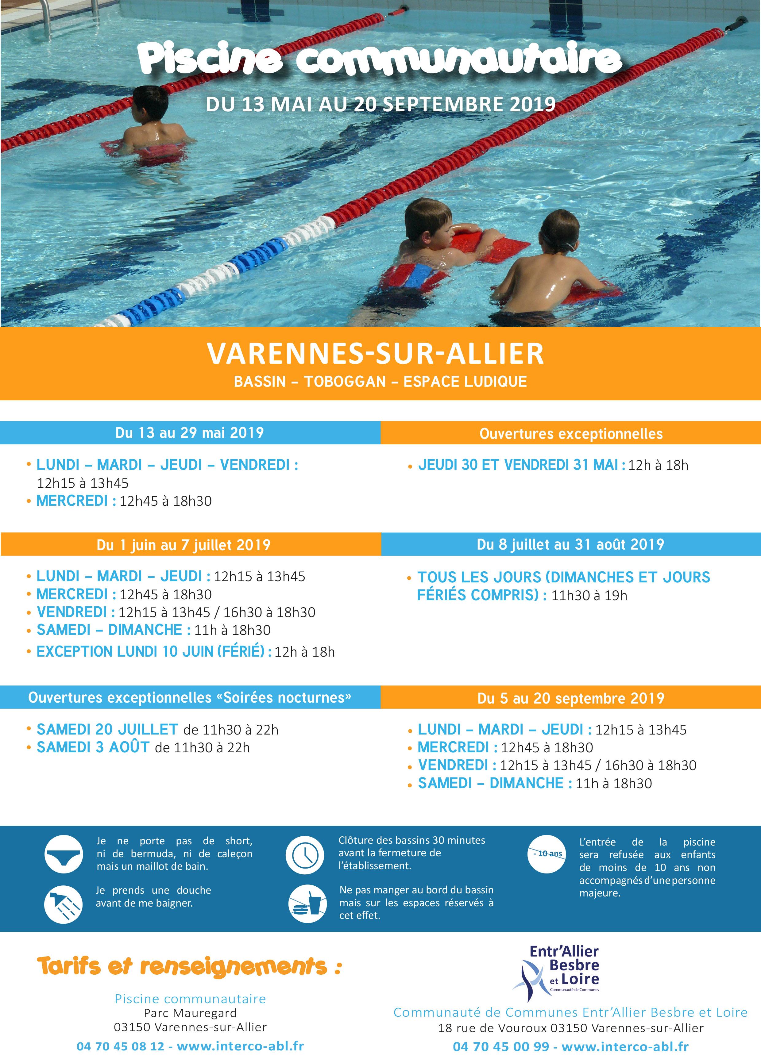 Horaires 2019 piscine de varennes-sur-allier